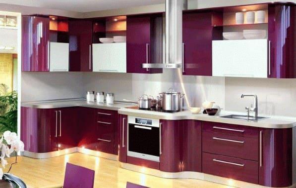 مطبخ الوميتال مودرن بنفجسي اللون